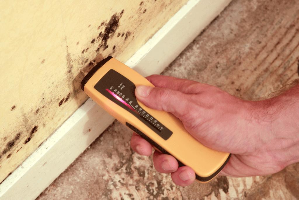 Aparato medidor de humedad tras haber instalado electroósmosis