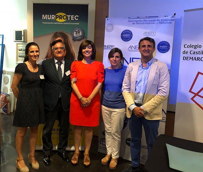 Ángel Cano con representantes institucionales en jornada ANERR Albacete