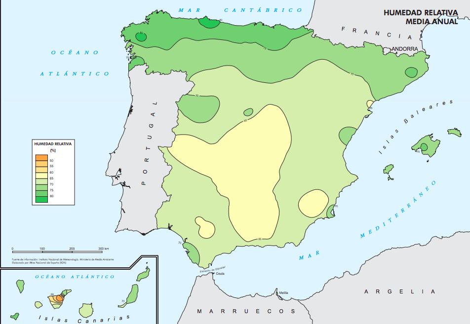 mapa de humedad españa