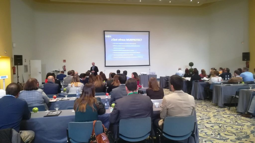 Juan Federico Gallardo en un momento de su intervención presentando el Plan Murprotec para el Grupo Marcal.
