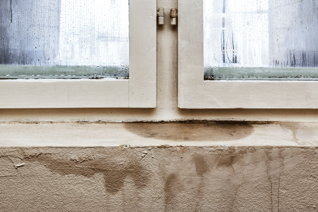 Ventana de una casa con humedad